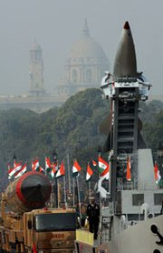 Indian nuclear-capable Agni 3 and Dhanush missiles are paraded through New Delhi in January 2008. The opposition Bharatiya Janata Party is moving to minimize concerns that it would eliminate the country's longstanding no-first-use nuclear-weapons doctrine, if voted into power.