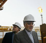 Iranian Oil Minister Bijan Zanganeh, left, visits an offshore oil platform in 2004 with then-Vice President Mohammad Reza Aref. U.S. Treasury Secretary Jack Lew on Thursday warned against any oil-swap agreement between Iran and Russia.