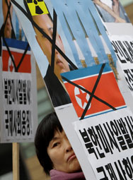 South Korean protesters shout slogans during an anti-North Korea rally last month in Seoul. The South Korean defense ministry on Tuesday said it had detected numerous signs that Pyongyang is preparing for a possible fourth nuclear test.