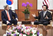 U.S. Secretary of State John Kerry, on left on Friday during a meeting in Seoul with South Korean Foreign Minister Yun Byung-se, said North Korea would never be accepted as a nuclear power (AP Photo/Paul Richard).