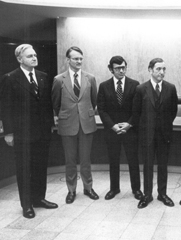 Victor Gilinsky, third from left, is sworn in as one of the first Nuclear Regulatory Commission members in 1975. Gilinsky and veteran U.S. atomic insider Roger Mattson last week said revealing classified findings on a decades-old alleged nuclear theft by Israel could help support Washington's current diplomacy.