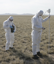 Technicians carry out analyses at a former nuclear-weapon test site in Kazakhstan as part of a 2008 exercise. The former Soviet state has worked to assure the world of its commitment to nuclear disarmament and nuclear security, but some issue experts have warned that complacency might be the greatest threat to its efforts (AP Photo).