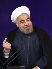 Iranian President Hassan Rouhani speaks on Tuesday at his first press conference since taking office, at the leader's compound in Tehran. The just-inaugurated head of state suggested the idea of bilateral meetings with Washington (AP Photo/Ebrahim Noroozi).
