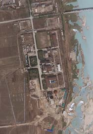North Korea's Yongbyon nuclear complex, shown in an April 2012 satellite image. Pictures taken of the site in recent months suggest a twofold increase in the size of its uranium enrichment area, according to a think-tank analysis issued on Wednesday (AP Photo/GeoEye).