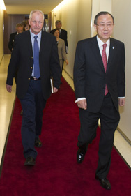 U.N. Secretary General Ban Ki-moon, right, meets in April with Ake Sellstrom, head of a task force charged with investigating allegations of chemical-weapon use in Syria's civil war. A planned U.N. mission into the country reportedly would steer clear of assigning blame for any chemical strikes (U.N. photo).