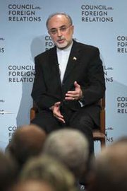 Iranian Foreign Minister Ali Akbar Salehi, shown speaking last October in New York, was tapped on Friday by Iran's new president to lead the country's atomic energy organization (AP Photo/John Minchillo).