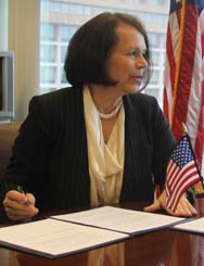 U.S. National Nuclear Security Administration deputy head Anne Harrington, shown in 2011. A U.S. initiative to thwart illicit trafficking of nuclear material will more selectively field radiation-detection technology at international ports following an interagency review of the effort, Harrington said in a recent interview (U.S. National Nuclear Security Administration photo).