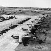 A fleet of B-36 Peacemaker bombers and 16-person crews at Carswell Air Force Base, Texas, in 1955.
