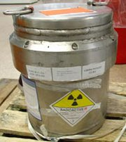 A supply of molybdenum 99 isotopes manufactured in South Africa without bomb-usable highly enriched uranium. The Obama administration plans on Jan. 1 to begin providing reimbursement for the medical use of radiological isotopes produced without weapon-grade uranium, despite concerns that the payment will not be enough to curtail the health sector's reliance on bomb-grade material (U.S. National Nuclear Security Administration photo).