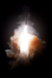 "A U.S. Minuteman 3 missile is test-fired from Vandenberg Air Force Base, Calif., in May 2008. A group of 45 Democratic lawmakers is proposing cuts to spending on the ICBM fleet and other components of the nation's nuclear arms complex in the face of the budgetary ""fiscal cliff"" (U.S. Air Force photo)."