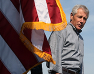 Chuck Hagel aboard the USS Ponce on Friday. The U.S. defense secretary reportedly intends to protect some key policy areas -- including homeland security and countering unconventional weapons -- from budget cuts (Mark Wilson/Getty Images).