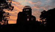 "The Atomic Bomb Dome is seen in silhouette during sunset over the Peace Memorial Park in Hiroshima on Aug. 5, the eve of the 68th anniversary of the U.S. atomic bombing of the Japanese city. A new report warns that a ""limited"" nuclear conflict using 100 times the atomic firepower of the attack on Hiroshima could cause worldwide famine (Toru Yamanaka/AFP/Getty Images)."