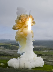 A Ground-based Interceptor is launched from Vandenberg Air Force Base, Calif., in a January flight test. The Pentagon has asked defense firms to fine-tune their competing designs for a new standardized kill vehicle for use on both the GBI missile and versions of the Standard Missile 3 interceptor (Missile Defense Agency photo).