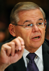 U.S. Senator Robert Menendez (D-N.J.), seen last month, is defying Obama administration pleas by pursuing new sanctions legislation against Iran (Mandel Ngan/AFP/Getty Images).