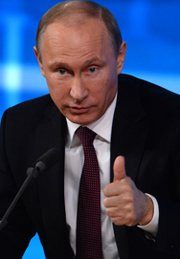 Russian President Vladimir Putin at an annual press conference on Thursday in Moscow said no nuclear-capable Iskander missiles have been fielded in the Kaliningrad area -- a Russian exclave that borders NATO territory -- contrary to earlier indications by his Defense Ministry (Vasily Maximov/AFP/Getty Images).