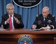U.S. Defense Secretary Chuck Hagel, left, and Chairman of the Joint Chiefs of Stafff Army Gen. Martin Dempsey deliver remarks earlier this month in Washington. The two leaders on Thursday said they were concerned about potential ramifications following the execution of North Korean ruler Kim Jong Un's powerful uncle (Paul J. Richards/AFP/Getty Images).