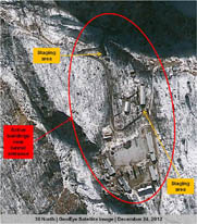 A Dec. 24 satellite image of North Korea's Punggye-ri nuclear test site. The North has placed a covering over the entrance to the test tunnel, which would make it more difficult for other nations to determine when an underground detonation is imminent, the New York Times reported (AP Photo/GeoEye Satellite Image).