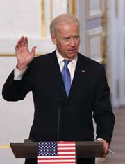 U.S. Vice President Joseph Biden, shown on Monday in Paris, meet over the weekend with Russian Foreign Minister Sergei Lavrov. Top U.S. officials are holding talks that experts said are aimed at refreshing the Obama administration's nuclear arms control efforts (AP Photo/Christophe Ena).