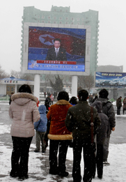 North Koreans in Pyongyang watch a televised announcement of the nation's third nuclear test on Tuesday (AP Photo/Kim Kwang Hyon).