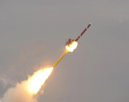 A South Korean sea-launched cruise missile is shown taking flight in a picture released on Thursday by the South Korean Defense Ministry. Seoul said its cruise missiles could hit North Korean targets with high precision (AP Photo/South Korea Defense Ministry).