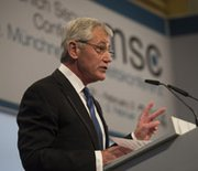 U.S. Defense Secretary Chuck Hagel delivers a speech at the Munich Security Conference in Germany on Saturday. The defense chief discussed U.S. spending on missile defense and encouraged NATO countries to make strategic military investments.