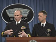 Chief of Naval Operations Navy Adm. Jonathan Greenert and Navy Adm. John Richardson, director of the Naval Nuclear Propulsion Program, brief reporters at the Pentagon on Tuesday about a recently uncovered test-cheating ring suspected at an atomic-reactor training school in South Carolina.