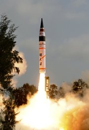 India's Agni 5 ballistic missile takes off in an April 2012 test flight. The nation is developing the multiple-warhead, farther-flying Agni 6 missile (AP Photo/Indian Ministry of Defense).