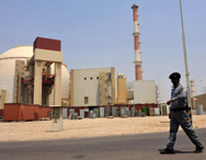 The reactor building at the Russian-built Bushehr nuclear power plant, as seen in August 2010. Russia may build a second reactor at the site in exchange for Iranian oil.