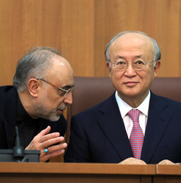 Iranian Atomic Energy Organization head Ali Akbar Salehi, left, speaks during a press conference with International Atomic Energy Agency Director General Yukiya Amano. Iran appears to have resumed activities at a military base where the U.N. agency believes nuclear-related experiments may have been performed, according to a Washington think tank.