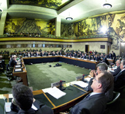The Conference on Disarmament as it opened its 2012 session in Geneva, Switzerland. The 65-nation forum now appears set to revive an informal working group intended to help break years of deadlock, its president announced.