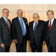 Former Senator Sam Nunn, former Secretary of State George P. Shultz, former Secretary of State Henry A. Kissinger and former Secretary of Defense William J. Perry.