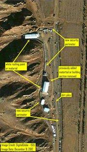 A Dec. 9 satellite image of the Parchin military base in Iran. Pictures taken this month indicate continued construction efforts at the site thought to have previously housed nuclear weapon-relevant experiments (AP Photo/Institute for Science and International Security).