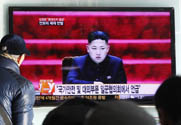 "North Korean leader Kim Jong Un is seen Sunday on South Korean television. Kim directed leading military and political officials to take ""substantial and high-profile important state measures,"" suggesting the North is moving ahead with plans for its third nuclear test (AP Photo/Ahn Young-joon)."