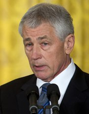 Former Senator Chuck Hagel (R-Neb.) speaks at the White House on Monday after being formally announced as President Obama's nominee for secretary of Defense (AP Photo/Carolyn Kaster).