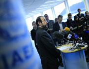 Iranian Ambassador to the International Atomic Energy Agency Reza Najafi speaks to reporters in November at the U.N. nuclear watchdog's Vienna headquarters. The agency is examining how to increase its presence in Iran to verify the country's compliance with a multilateral nuclear agreement.