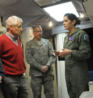 U.S. Defense Secretary Chuck Hagel listens as Air Force Capt. Erin Gentile, missile combat crew commander, describes her duties during a visit last week to the E-01 Missile Alert Facility and Launch Control Center near Cheyenne, Wyo. The service announced on Wednesday that 34 ICBM launch officers at a Montana base had been implicated in a proficiency-test cheating scandal.
