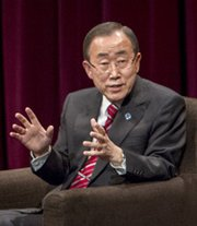 U.N. Secretary General Ban Ki-moon, shown on Thursday, on Friday said the United States should press ahead in ratifying the Comprehensive Test Ban Treaty rather than await action by other holdout countries (U.N. photo).