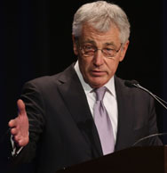 U.S. Defense Secretary Chuck Hagel, speaking at the Pentagon on Friday, said the routine certification tests that all Air Force missile-launch officers are required to take could be too difficult and might need to be reevaluated.