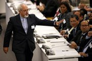 Iranian Foreign Minister Mohammad Javad Zarif greets fellow diplomats last September at the U.N. General Assembly in New York. The U.S. city reportedly is slated to host a February meeting on Iran's disputed nuclear program.
