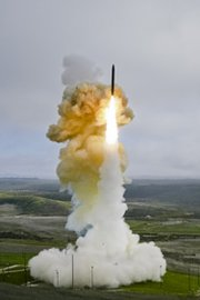 A U.S. Ground Based Interceptor, equipped with an Exoatmospheric Kill Vehicle, takes off from Vandenberg Air Force Base, Calif., in a January 2013 flight test of the long-range missile defense technology. The Pentagon's testing czar in a Wednesday report said multiple test failures of the kill vehicle suggest a redesign may be needed.