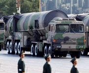 Chinese nuclear-capable missiles, shown on display at a 2009 parade in Beijing. The United States reportedly facilitated a Chinese sale of ballistic missiles to Saudi Arabia in 2007, but demanded assurance that the arms were unsuited for nuclear payloads.