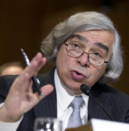 Ernest Moniz, shown speaking in April. The Energy security addressed a U.N.-sponsored nuclear security conference on Monday in Vienna, Austria (AP Photo/Manuel Balce Ceneta).