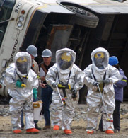 Emergency personnel participate in a 2003 terrorism drill in Seattle. Forgotten vials of smallpox have been found at a U.S. government facility in Bethesda, Md.