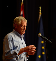 U.S. Defense Secretary Chuck Hagel speaks to service members at Naval Submarine Base Kings Bay, Ga., on Wednesday. The secretary said the military's focus in recent years on overseas land wars had led to less attention being given to the nuclear deterrence mission.