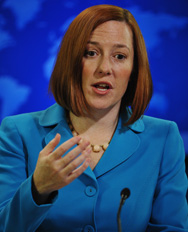U.S. State Department spokeswoman Jen Psaki speaks to the press in Washington in February. On Thursday, the spokeswoman downplayed risks associated with the seizure of a quantity of low-grade uranium in Iraq by extremist insurgents.
