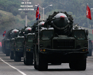 North Korean missiles, shown on display during a 2010 military parade in Pyongyang. North Korea might be preparing to show off its road-mobile ICBM and other new, longer-range ballistic missiles, according to a Friday news report (AP Photo/Vincent Yu)