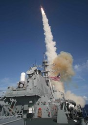An Aegis destroyer test-fires a Standard Missile 3 interceptor in 2007. Aegis missile defense technology is in the mix of antimissile systems being studied by the Defense Department for possible fielding at a proposed new interceptor site on the U.S. East Coast, a senior Pentagon official said on Wednesday (U.S. Navy photo).