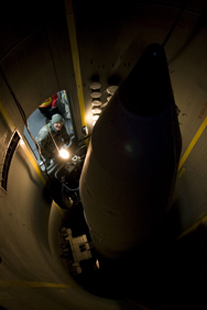Then-Missile Defense Agency Director Lt. Gen. Patrick O'Reilly examines a missile-interceptor deployed at Fort Greely, Alaska, in 2010. A new congressional audit finds that the Pentagon is not providing sufficient information to allow a proper progress assessment of a key homeland antimissile system.