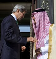 U.S. Secretary of State John Kerry and Saudi Foreign Minister Prince Saud al-Faisal following a press conference last month in Jeddah, Saudi Arabia. A U.S.-Saudi atomic trade accord would not help advance Riyadh's possible pursuit of a nuclear arms capacity, which Washington discourages, a U.S. diplomat said in an interview (AP Photo/Jacquelyn Martin).
