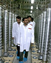 Iranian President Mahmoud Ahmadinejad takes a 2008 tour of the Natanz uranium enrichment complex south of Tehran. The outgoing leader this week said his country would soon begin operating 5,000 additional uranium enrichment centrifuges (AP Photo/Iranian Presidency).